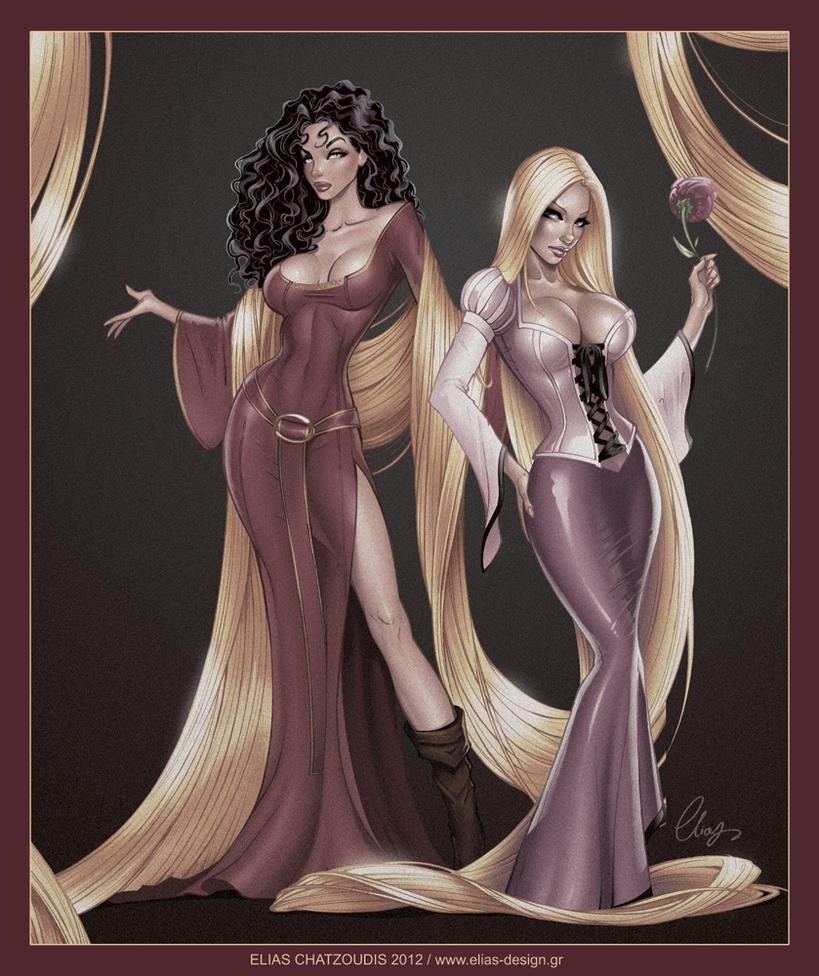 Rapunzel and Mother Gothel by Elias-Chatzoudis