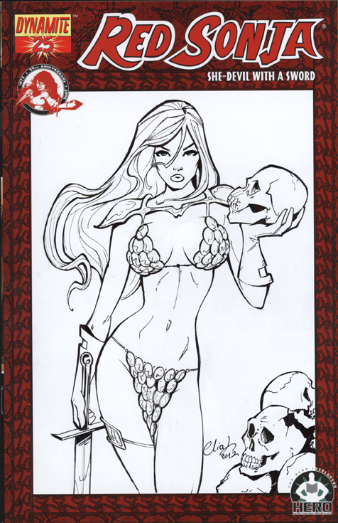 Red Sonja Blank cover Commission by Elias-Chatzoudis