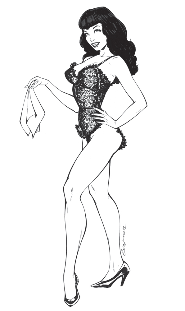 Bettie Page Lineart by Elias-Chatzoudis