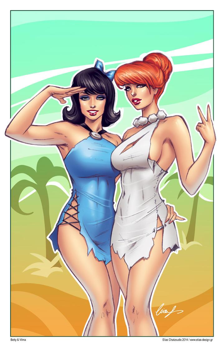 Betty Rubble Wilma Flintstone Lesbian Art Lesbian