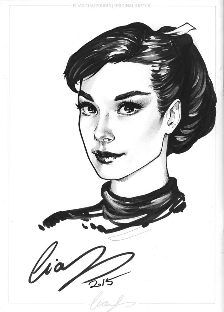 Audrey Hepburn headshot Sketch by Elias-Chatzoudis