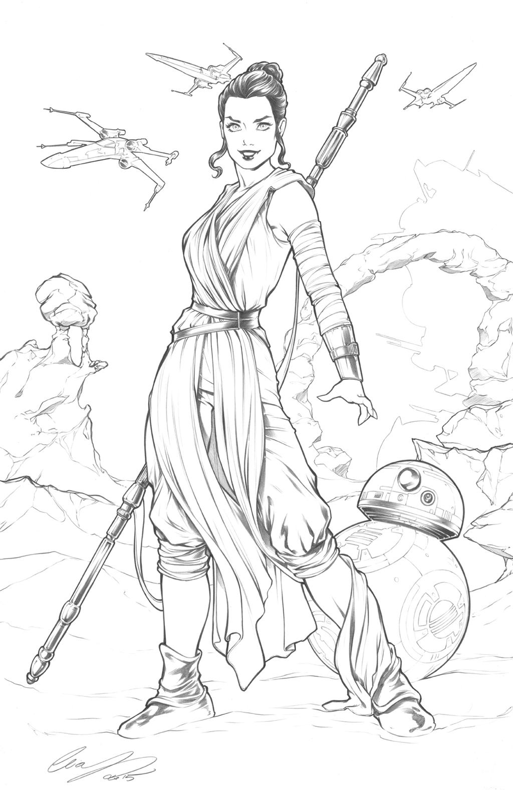 Rey star wars by elias chatzoudis on deviantart for Star wars bb8 coloring pages