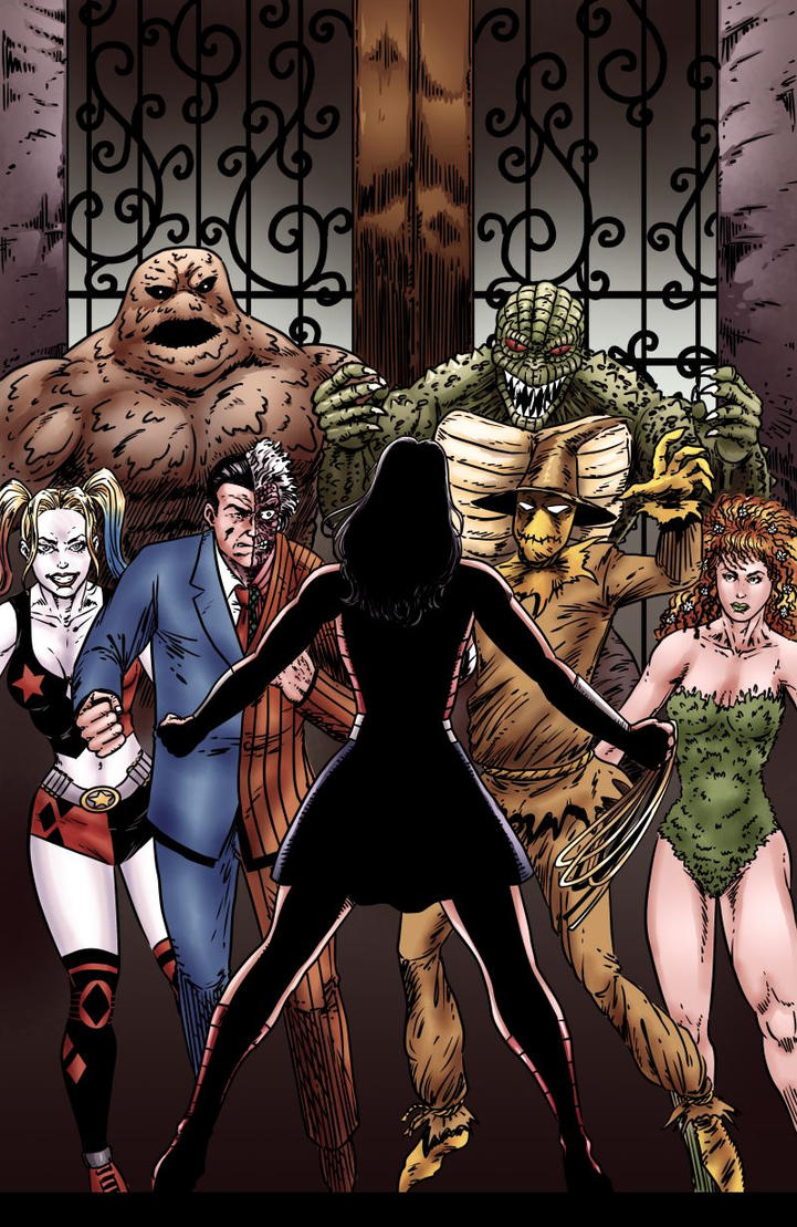 Wonder Woman vs. Arkham (Sepia) by joeyjarin
