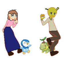 me and shrek as pokemon trainers