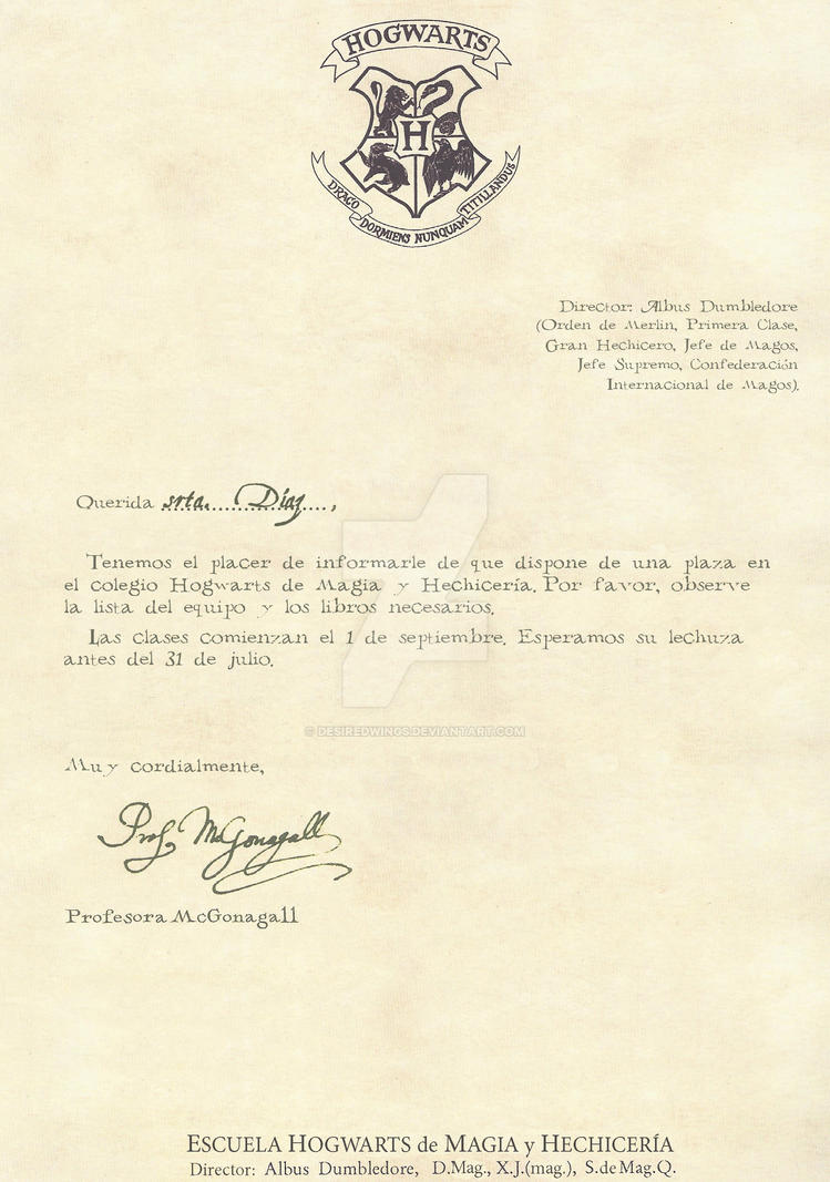 Hogwarts Acceptance Letter Spanish 1 2 By Desiredwings