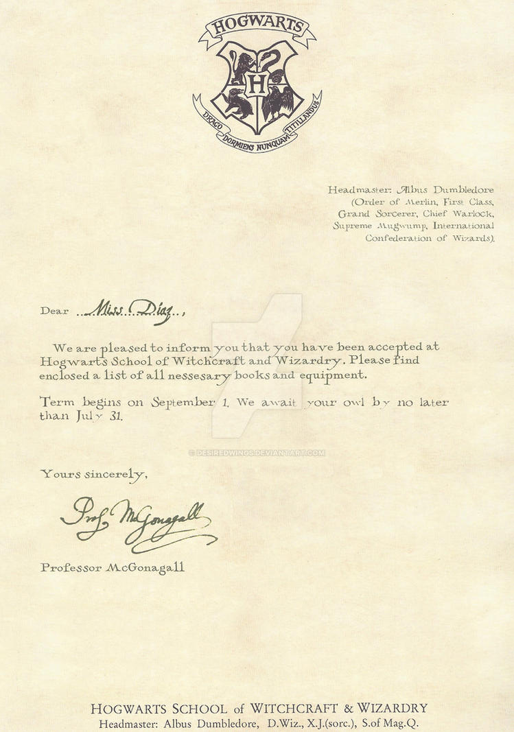 Hogwarts Acceptance Letter English 1 2 By Desiredwings