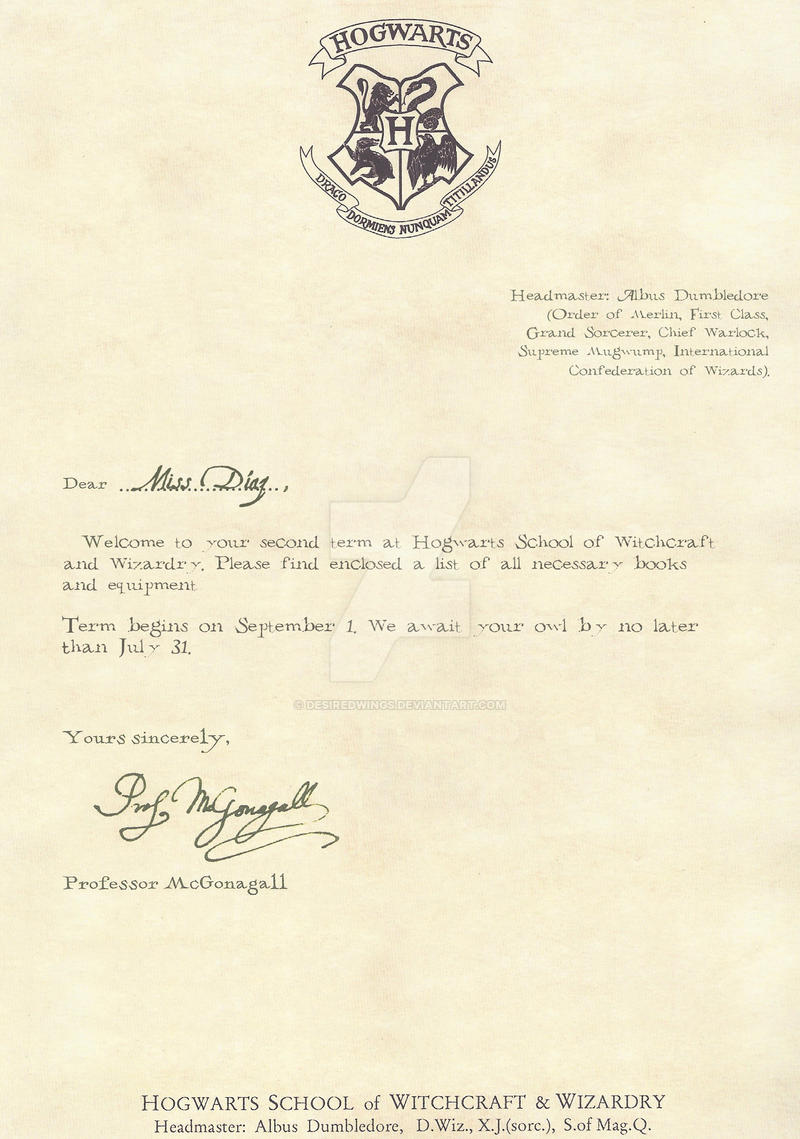 Hogwarts letter second year 1 2 english by desiredwings for Hogwarts certificate template