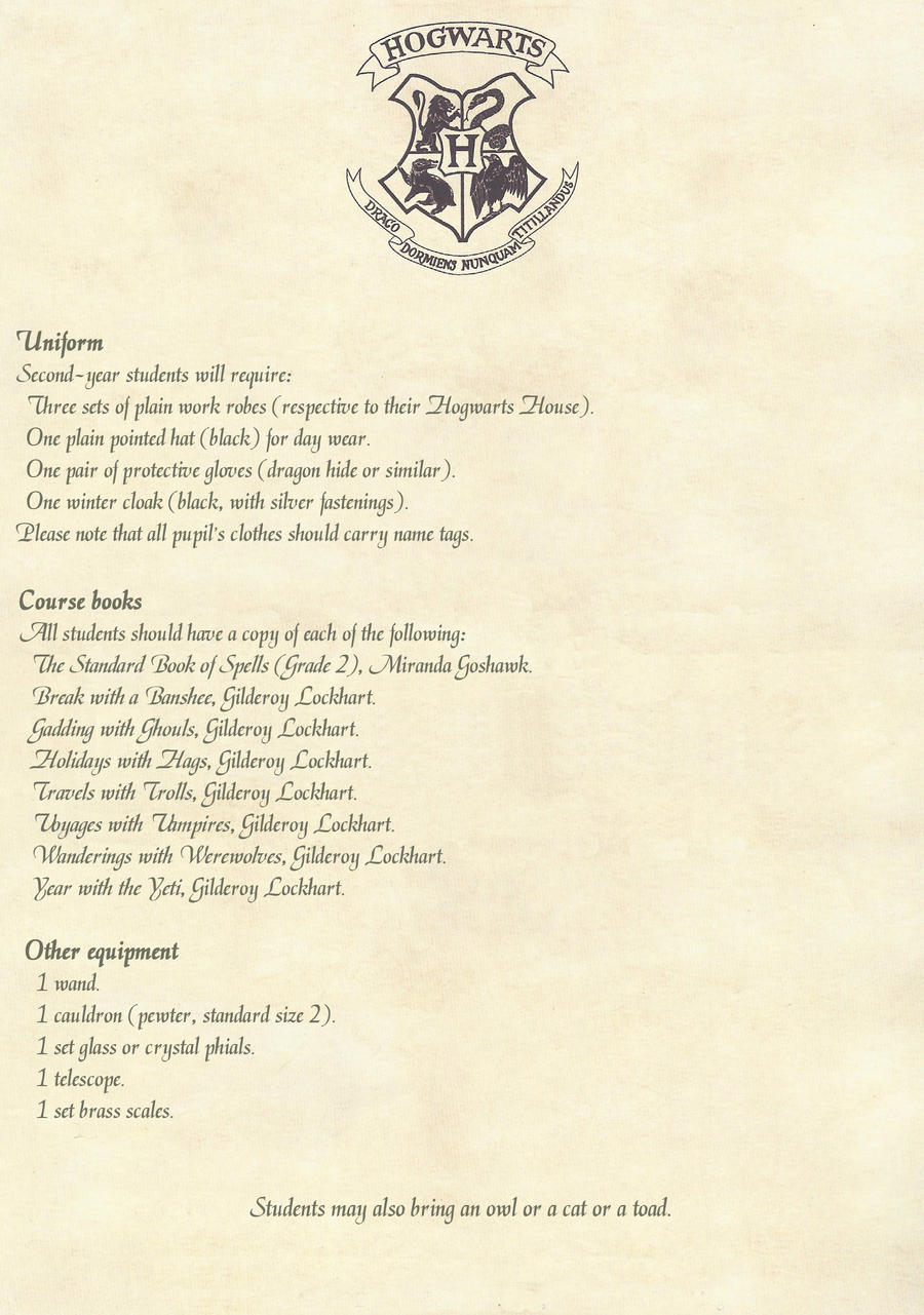 Hogwarts Letter Second Year 2 2 English By Desiredwings