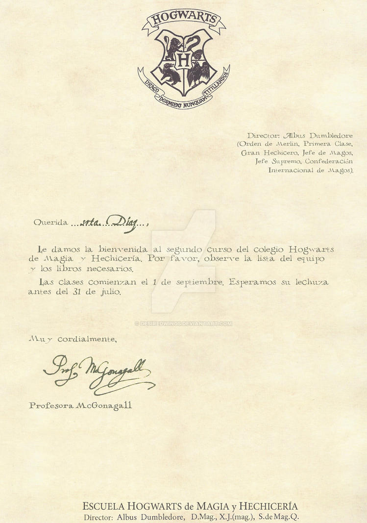 Hogwarts Letter Second Year 1 2 Spanish By Desiredwings