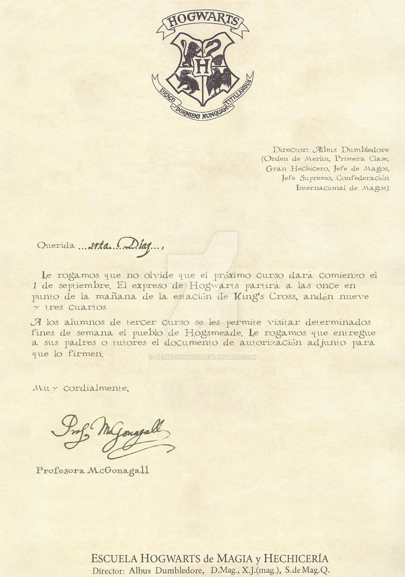 Hogwarts Letter Third Year 1 2 Spanish By Desiredwings