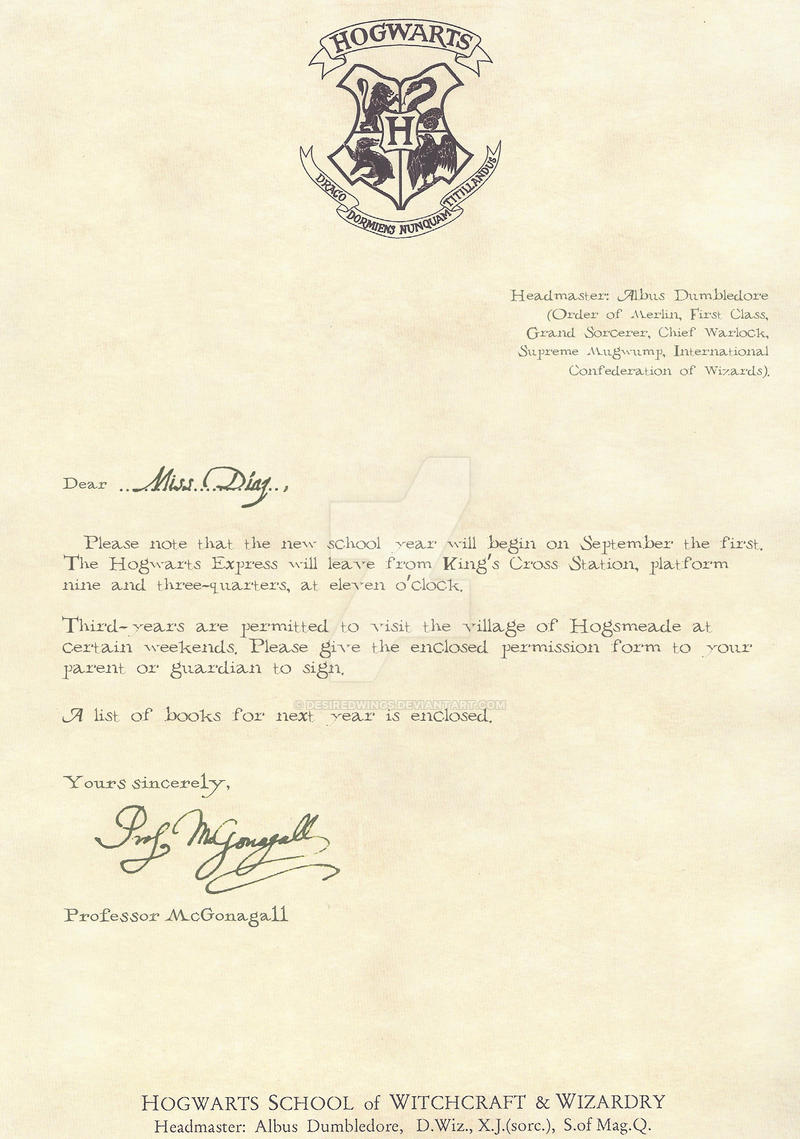 3rd Yr Residents Albany Medical College: Hogwarts Letter Third Year 1/2 -english- By Desiredwings