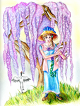 Under The Wisteria Tree (colored pencils) by Alexandra-chan
