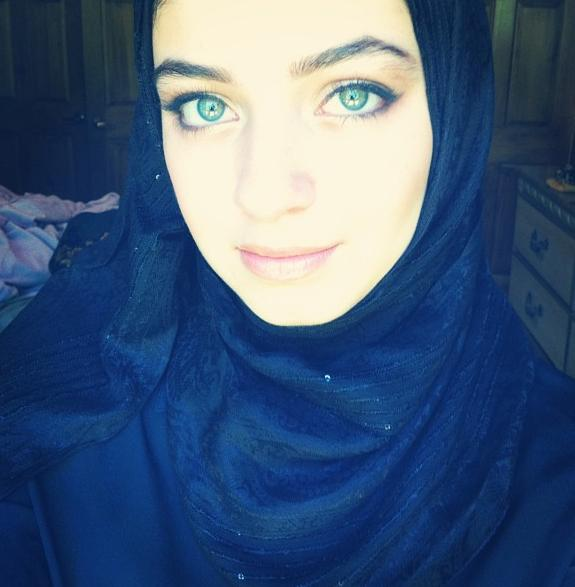 Girl with blue eyes and wearing a Hijab by Mira-Heart