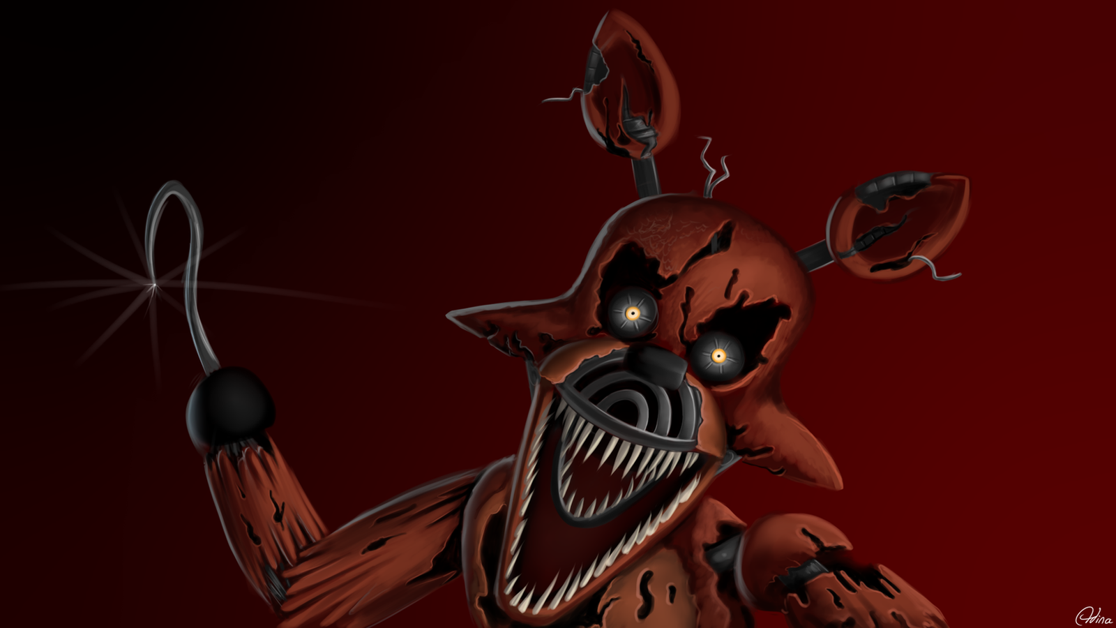This is a picture of Smart Nightmare Foxy Drawing