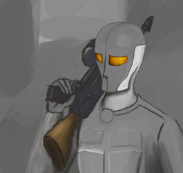 One-doodle-a-day 7.10.2015: Sci-fi-soldier-thingy by Home-Korva