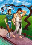 Chun Li And Ryu Take A Romantic Walk Color