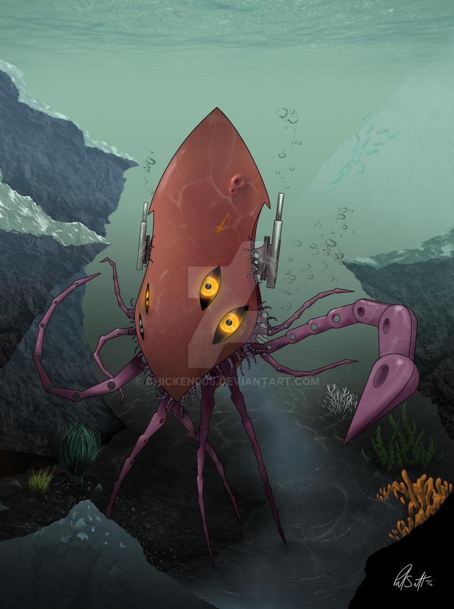 Robot Squid Underwater by Chicken008