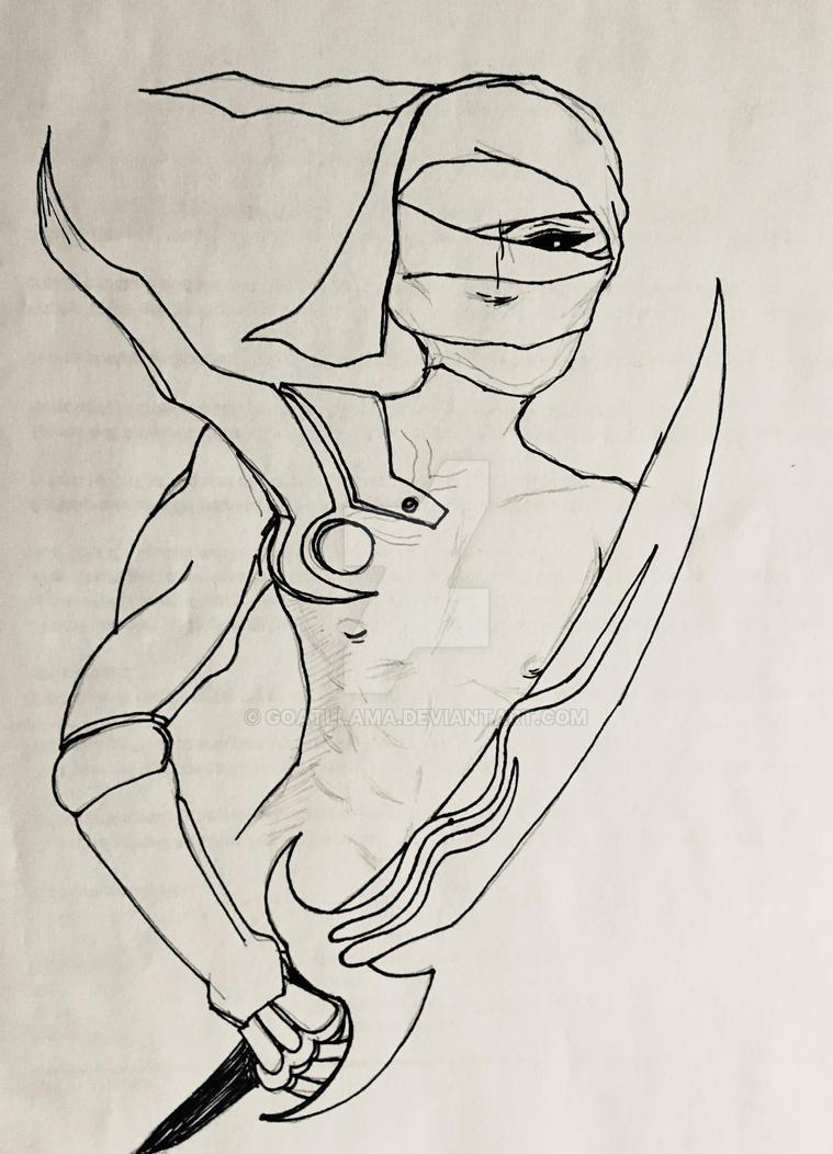 Inktober 2081 7: Shrouded Warrior by Goatllama