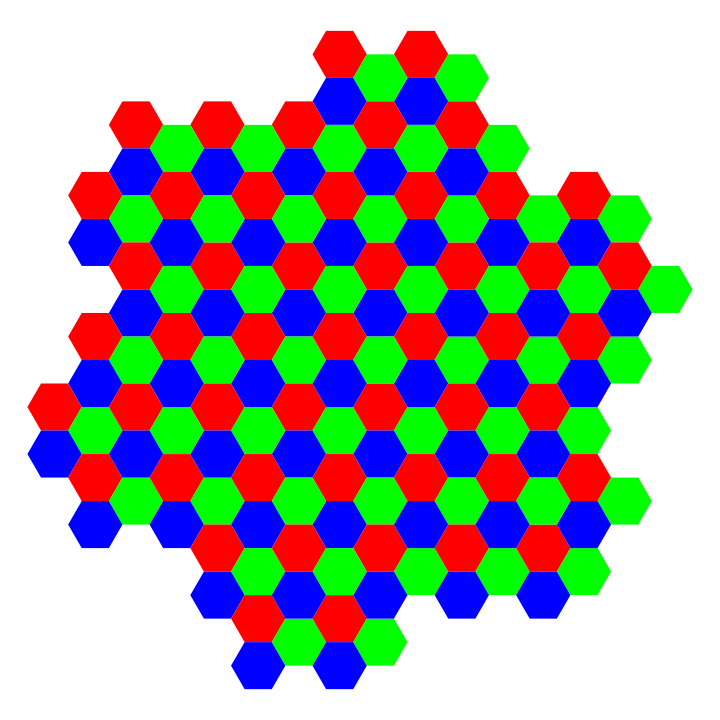 red green blue hexagon island by 10binary