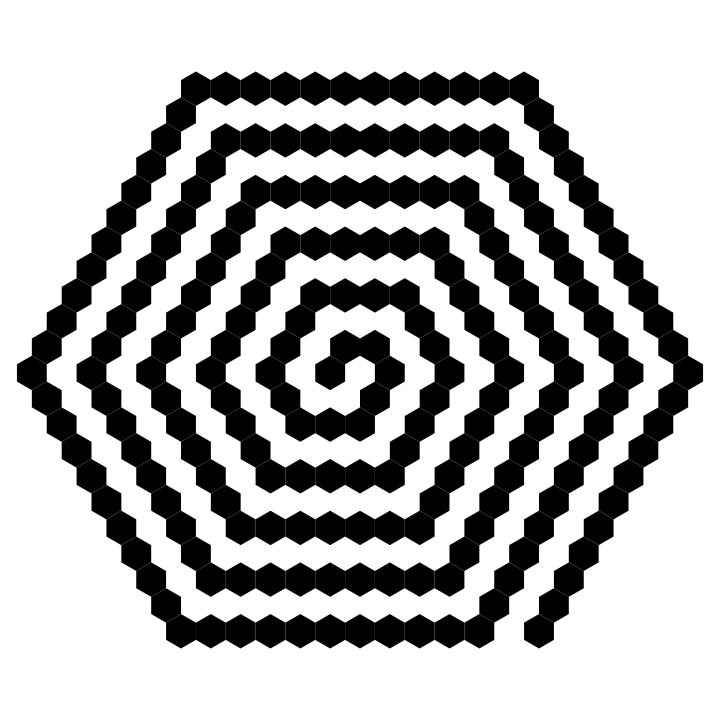 Hexagon Art 209 black hexagons by 10binary