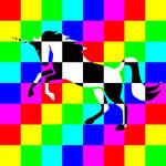 Chessboard Unicorn Rainbow type 1