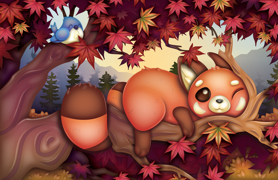 Red Panda and Leaves