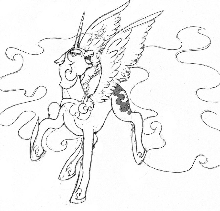 Nightmare Moon - lineart by MMMenagerie