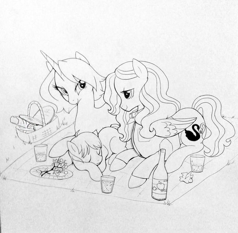 Swan-Mills Family Picnic - Lineart by MMMenagerie