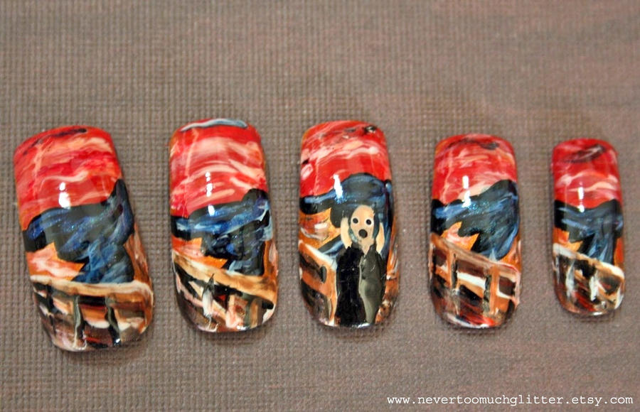 The Scream Nail Art By Nevertoomuchglitter By Nevertoomuchglitter On