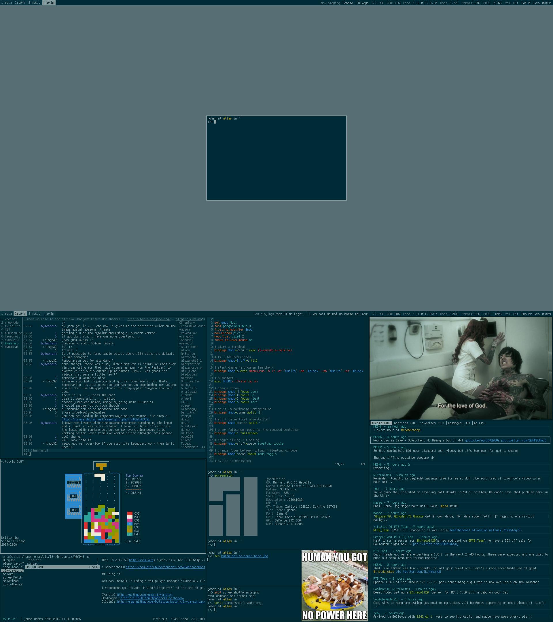 My Desktop - Manjaro w/ i3 | November 2014