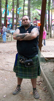 Man With Kilt Stock