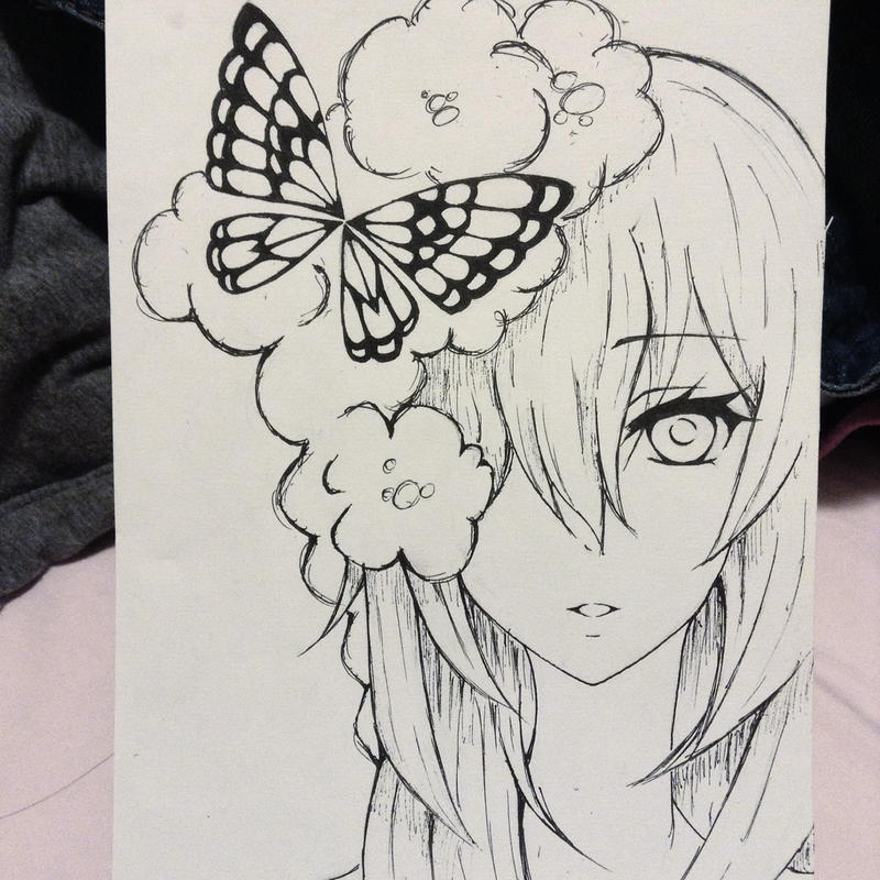 Pretty girl with butterfly read below by kalin hunter rose
