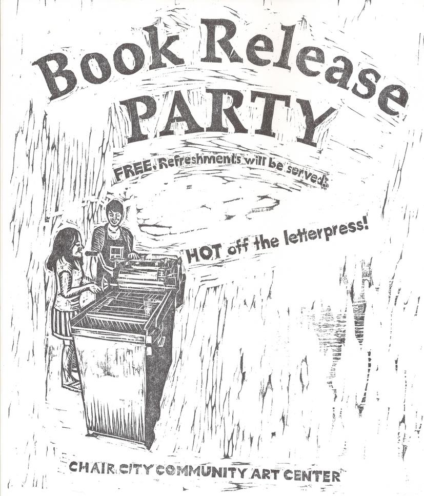 Book Release Party Flier Woodcut by Gryphyn-Bloodheart