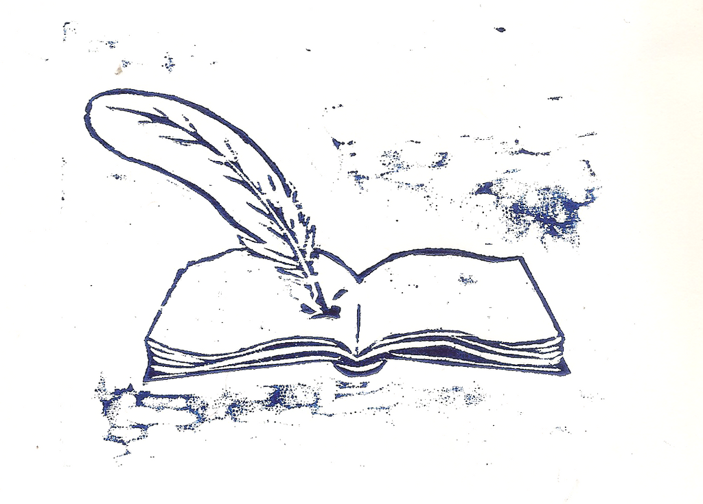 Book and Quill Woodcut by Gryphyn-Bloodheart