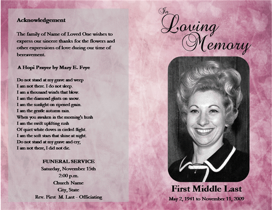 Funeral Program Template Free Download By Rochellagozzitzw ...  Funeral Program Templates Free Downloads