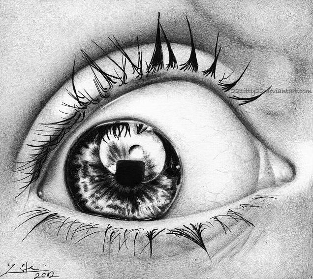Eye pen drawing by 22Zitty22