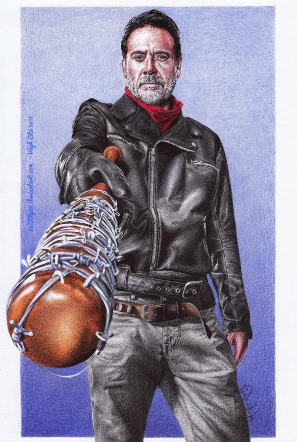 Jeffrey Dean Morgan - color ballpoint pen drawing by 22Zitty22