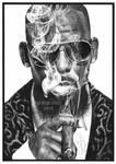 Behind cigar smoke