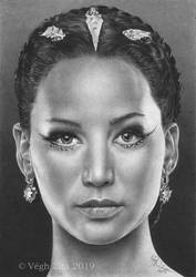 Katniss pen drawing by 22Zitty22