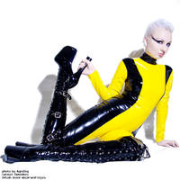 yellow and black catsuit by AgnaDevi