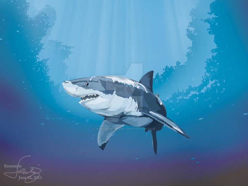 Great White Shark by kenVINnethCENT on DeviantArt  Great White Shark Painting