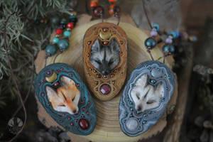 Moon  fox necklaces