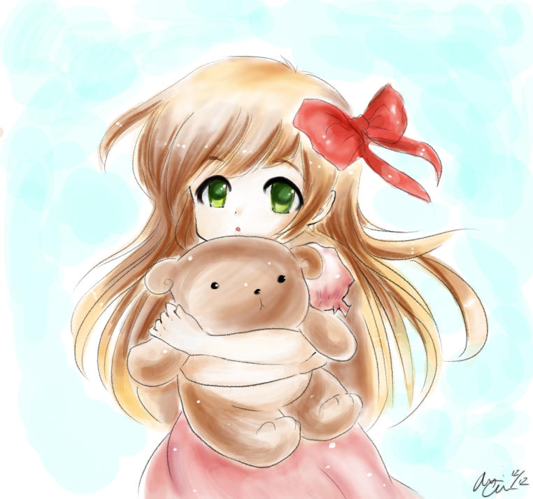 Anime girl with teddy bear