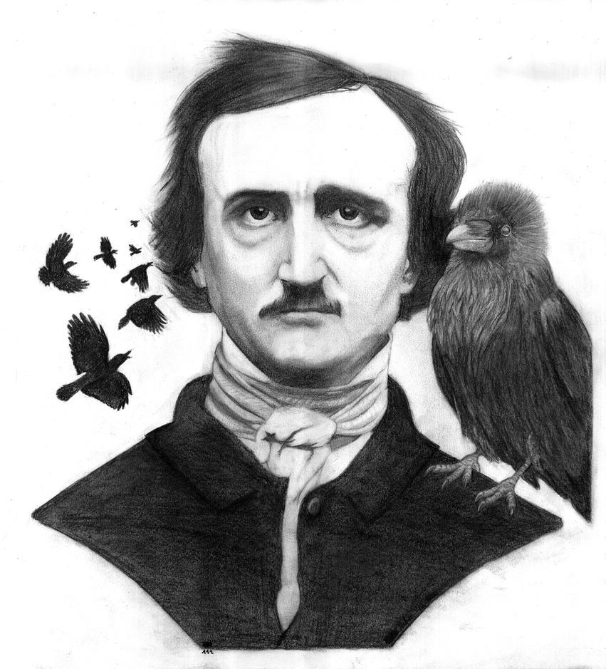 Edgar Allan Poe and the Raven by PakstraX on DeviantArt