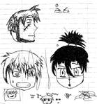 Random drawing faces emotion and eyes