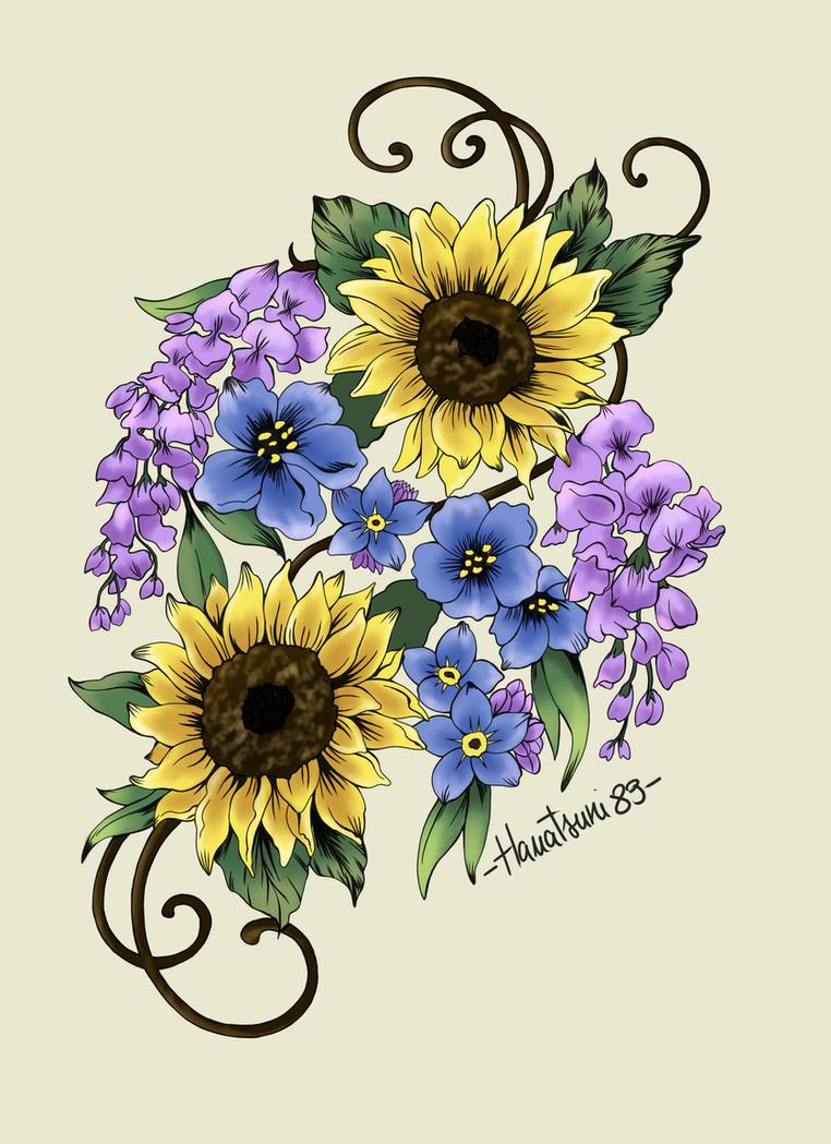 Sunflowers, Forget-me-not, Wisteria by Hanatsuki89