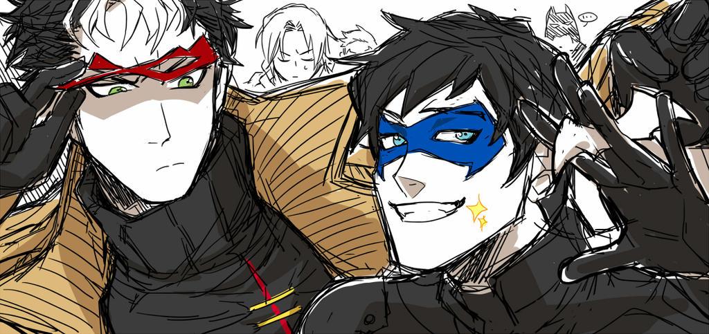 Jay and Dick (Bat family) by BAK-Hanul