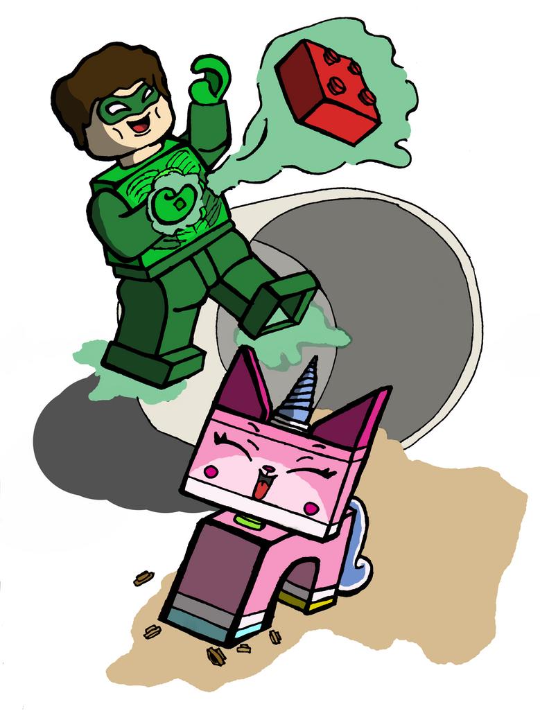 Lego Green Lantern and Unikitty by THUNDRkitty