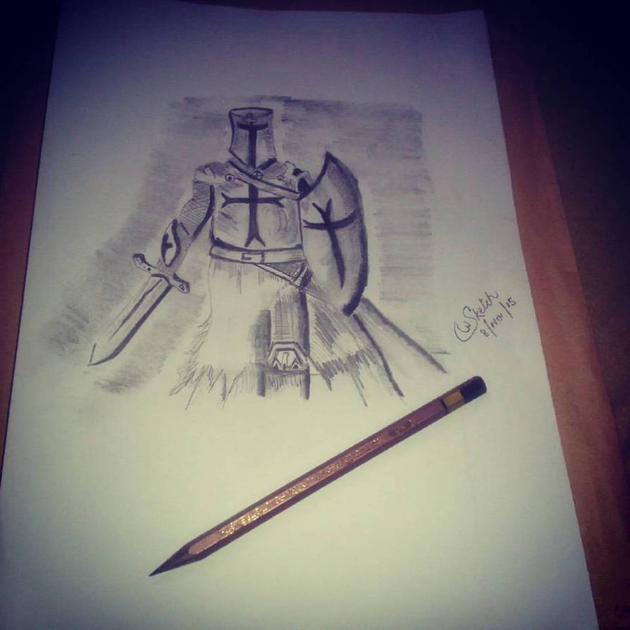 Knight of the templar pencil sketch by syedtheartist