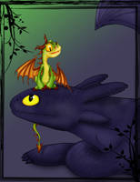 Toothless n Terror Colored by MadMouseMedia